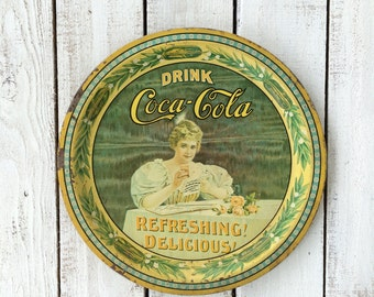 Vintage Coca Cola Reproduction Anniversary Round Collectible Tray Yellow Green