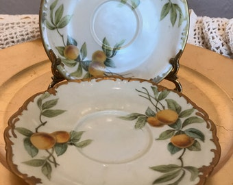 Antique Limoges  Handpainted Saucers-Set of 3- Heavy Gilding-White with Lemon Yellow, Green- Fruit