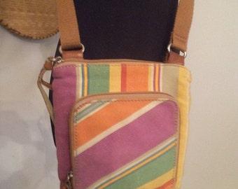 Vintage Fossil Colorful strips Crossbody  Colorful Canvas Bag Shoulder Bag ~ Purse ~ Pocketbook Hipster Indie