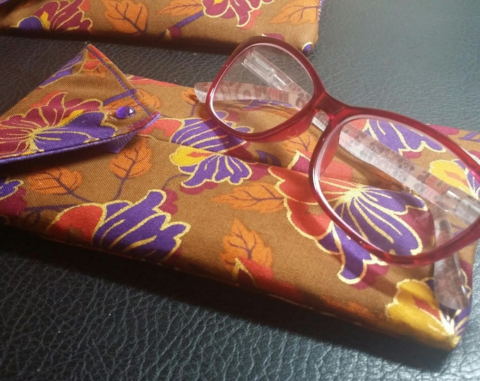 EYE GLASS CASES-Purple n' Tan Floral (Phone & glasses not included)