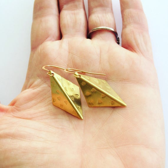 Folded Diamond Raw Brass Earrings - Modern - Geometric - Kite - Boho - Gypsy - Large Earrings