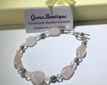 Dainty Rose Quartz Beaded Bracelet