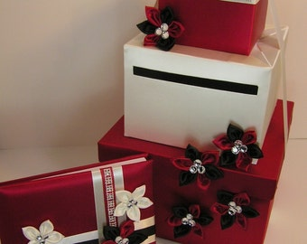 Wedding Card Box Red/Black and White Gift Card Box Money Box Holder--Customize your color