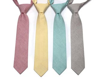 Chambray Boys Necktie~Cotton Necktie~Wedding Tie~Boys Pretied Necktie~Chambray Necktie~Rose~Yellow~Mint~Khaki~Solid Tie~Easter Tie