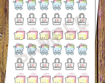 36 Kawaii Shopping Planner Stickers Shopping Bag Stickers Shopping Cart Stickers Kawaii Planner Stickers Gift Stickers Fits ANY Planner S13