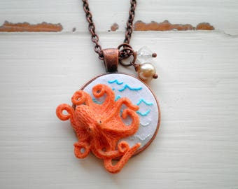 Octopus Necklace - Embroidered Ocean Waves Nautical Pendant - Sea Creature + Beads + Wave Embroidery Fabric Art Animal Jewelry Gift For Her