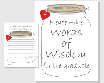Words of Wisdom for the Graduate Rustic Mason Jar Printable Cards and Sign for a Graduation Party - red & pink hearts