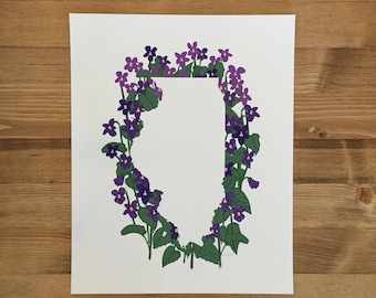 Illinois State Print - Violets