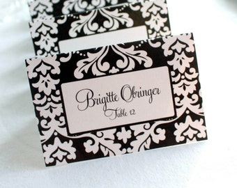 Editable Bold Damask Printable Place Cards