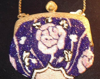 1920s Lovely Pink Rose Small Beaded Purse  item  #17  Purses
