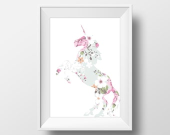 Floral Unicorn Print, Unicorn Print, Unicorn art, Unicorn decor, Nursery Decor, Unicorn Wall Art