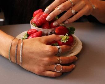 Diamond bar bracelet, single row bracelet, diamond bracelet, chain bracelet, pave bracelet, rose gold bracelet, black diamonds bracelet