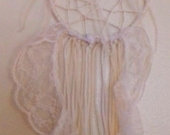 6 inch White with lace Dream Catcher!