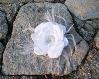 White Flower Hair Clip Fascinator- Wedding