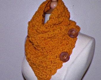 Infinity Scarf Cowl Button Neckwarmer Winter Mustard Yellow Gold Freeform Crochet