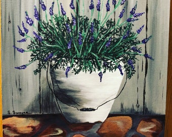 "Acrylic painting 11x14 panel ""porch lavender """
