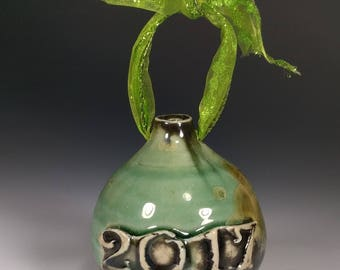 Handmade Wheel Thrown Art 2017 Green Turquoise Gold Crystalline Glazed Porcelain Christmas Tree Ornament