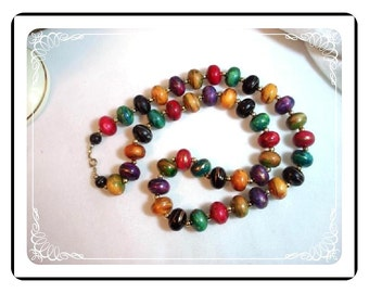 Abstract Bead Necklace - Jewel Tone Modernist  Neck-1072a-012312000