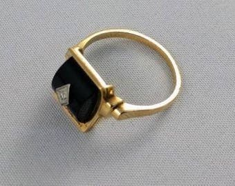 Art Deco Black Onyx Diamond Ring