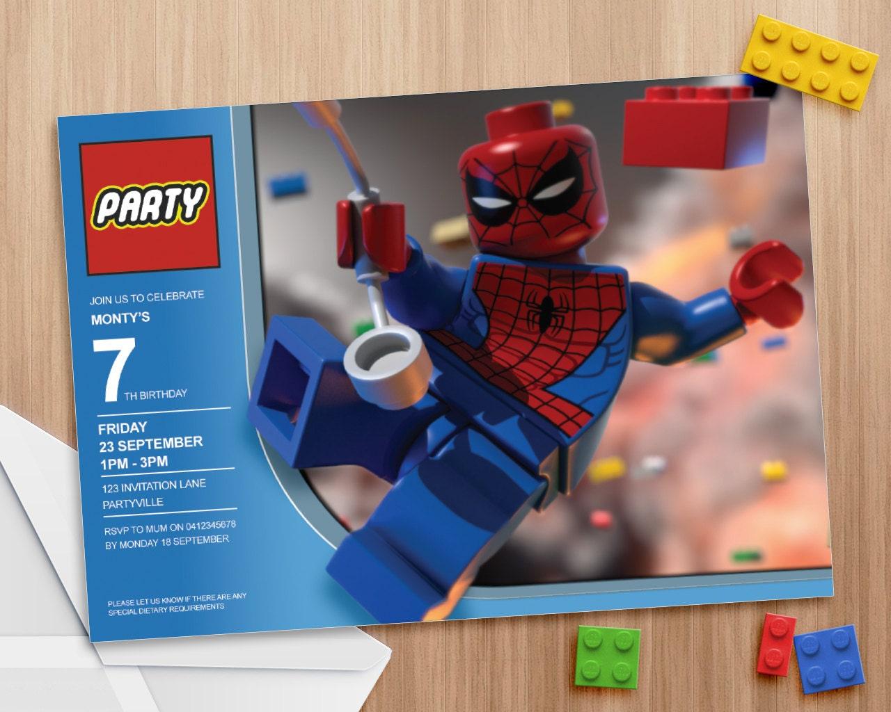 Lego Spiderman Invitation Editable and Printable print as