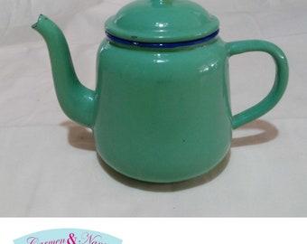 Mint green pewter vintage teapot