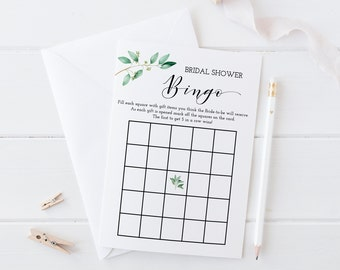 Greenery Bridal Shower Game, Bridal Bingo Game, Bridal Shower Bingo, Bridal Bingo, Greenery Bridal Game, Printable , Instant Download - GN1