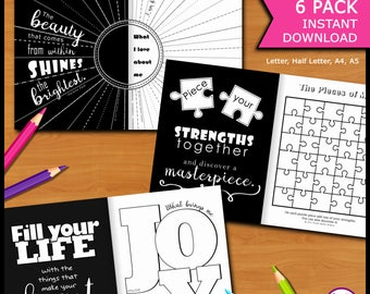 Self-Discovery Printable Journal 6 Pack with Creative Activities, Prompts & Quotes for Writing, Drawing, Coloring…(Letter,Half Letter,A4,A5)