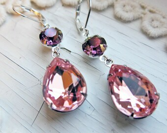 Pink Earrings Bridal Blush Pink Earrings Lilac Swarovski Crystal Drop Earrings Bridal Jewelry Bridesmaid Wedding Jewelry