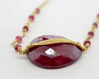 Dana Kellin 14K Yellow Gold Rose Cut Wire Wrap Ruby Necklace