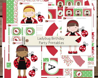 SALE 50% off Ladybug Printable Birthday Party Collection - INSTANT DOWNLOAD