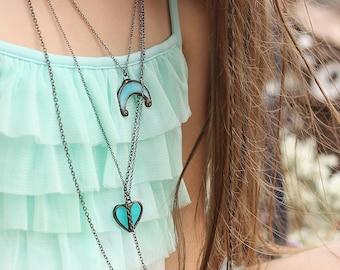 Boho jewelry set, sea jewelry, boho necklace, boho kids, hippie jewelry, beach jewelry, summer jewelry, ocean jewelry, bohemian jewelry