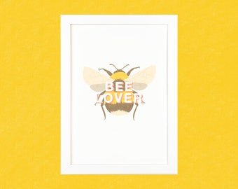 Bee Lover Luxury Digital Art Illustration Print - A5 or A4