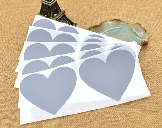 Heart Shaped Scratch Off Stickers - Silver - Secret Messages Game Scratchies Prizes