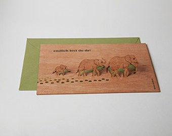 """3 pop up cards wood with envelope - """"at last you arrived"""" cards"""
