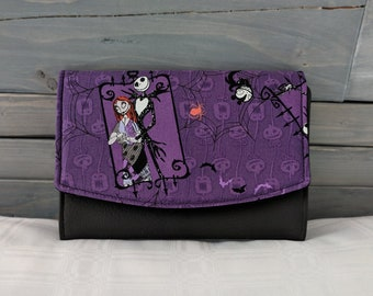 Nightmare Before Christmas Boon Wallet Jack Skellington and Sally Purple