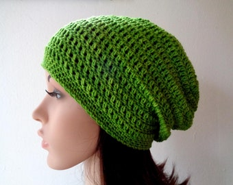 Size M, hand painted crochet slouchy hat, wool slouchy hat, women slouchy hat, crochet beanie hat, green slouchy hat, 22-23 inch, 100% wool