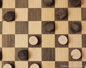 Log Slice Checker Playing Pieces, Rustic Game Play Piece Accessory