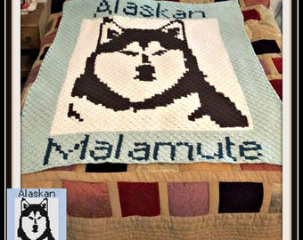 Alaskan Malamute, Crochet Pattern, C2C Graph, Afghan Pattern, Word Chart, Dog Series, Alaskan Malamute Graph, Graph pattern