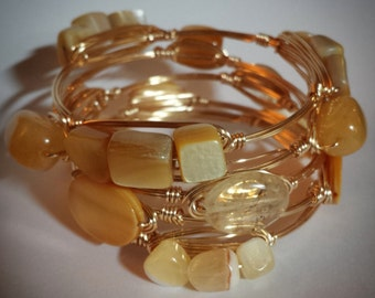 Yellow Wire  Wrapped Stackable Boodle Bangles Bracelets