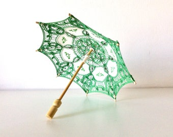 Vintage Embroidered Umbrella, Cotton Lace Parasol, Collectible Parasol, Mid Century, Home Decor.