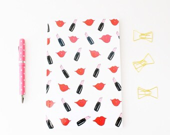 Makeup notebook, Lined notebooks, Notebooks for school, Illustrated journal, College rule notebooks, Bound journals, Gifts under 20