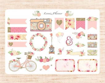 Pink and Yellow Florals decorations (28 matte planner stickers)
