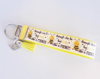 Bee Key Fob - Though She Be But Little She Is Fierce - Honey Bee Key Fob - Bee Keychain - Glitter Bee Key Fob - Bee Wristlet - Bumble Bee