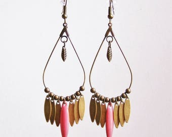 Dangle drop earrings and pink coral navette