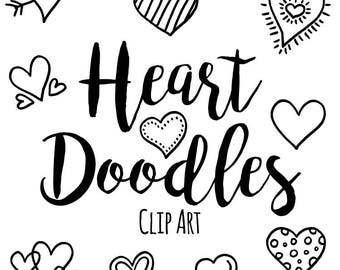 Pen and Ink Doodle Heart Clip Art, Custom Invitations Clip Art, Digital Doodle Heart Clip Art, Black and White Clip Art, Doodle Clip Art