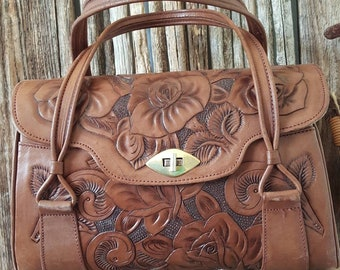 Vintage 1950-1960 Hand Tooled Mexican Leather Handbag / Leather Purse / Top Handle Bag /Southwest Style