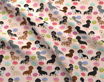 Dachshund Fabric - Doxie Dachshund Dog Donuts Dachshunds Pink By Petfriendly - Dachshunds Donuts Cotton Fabric By The Yard With Spoonflower