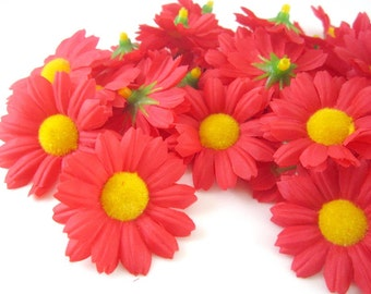100 Red Gerbera Daisy Heads - Artificial Silk Flower - 1.75 inches - Wholesale Lot - for Bridal Wedding work, Make Hair clips