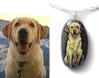 Custom Pet Portrait Necklace, Animal Painting, Hand Painted Rock, Memorial Pendant, Cat Art, Dog Jewelry, Pet Portrait, In Memory