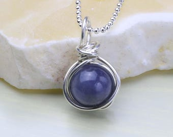 Tanzanite Gemstone Pendant, December Birthstone Necklace, Tanzanite Necklace, Sterling Silver, Birthday Gift for Her